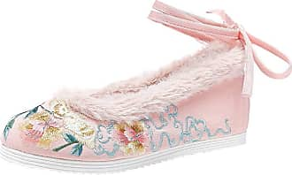 ICEGREY Womens Chinese Embroidered Shoes Flats Shoes Warm Loafer Pink-2 5.5