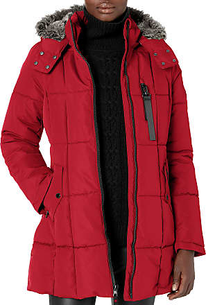 Nautica Womens Puffer with Faux Fur Lined Hood Down Alternative Coat, Red, Large