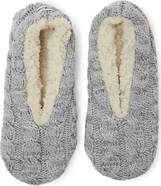 Dearfoams Womens Space-Dye Cable Knit Toasty Slipper Sock with Memory Foam Insole (Light Heather Grey, Medium)