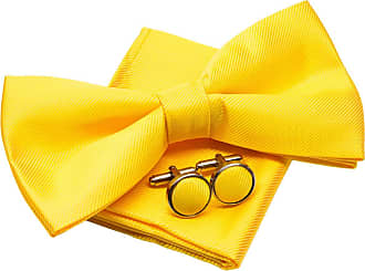 Retreez Plain Woven Microfiber Pre-tied Bow Tie (Width: 5) with matching Pocket Square and Cufflinks, Gift Box Set as a Christmas Gift, Birthday Gift - Yellow