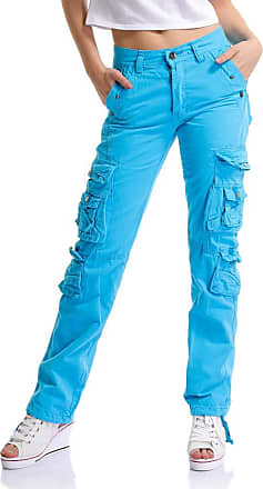 OCHENTA Womens Combat Casual Cargo Eight Pocket Army Military Trousers Bright Blue Lable 28-UK 4