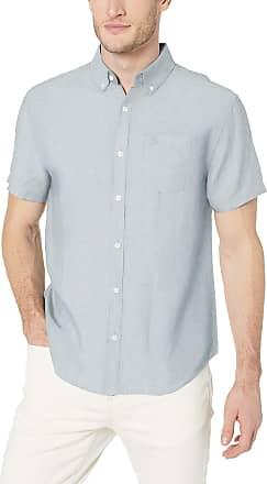 Original Penguin Mens Short Sleeve Linen Shirt Button, Pastel Blue, XXL