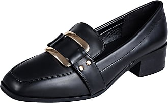 Jamron Womens Elegant Square Toe Block Heel Patent Leather Buckle Penny Loafers Ladies Office Court Shoes Black SN020104 UK5