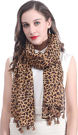 Lina & Lily Animal Print Womens Large Scarf Lightweight (Leopard-Brown)(Size: 180cm x 90cm)