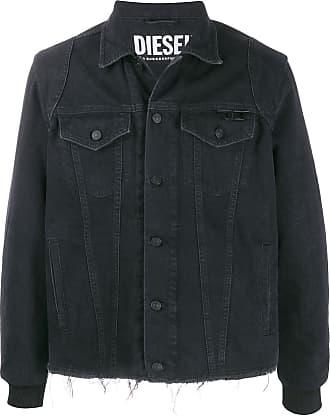 Diesel Jaqueta jeans preta com estampa de logo - Preto