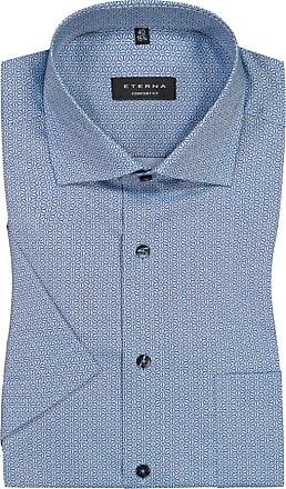 Eterna Kurzarmhemd im Musterprint, Comfort Fit von Eterna in Blau für Herren