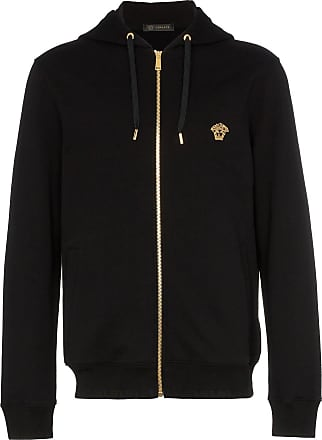 a619394e78ad Versace Medusa embroidered zip up hooded jumper - Black