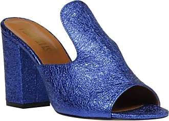 PARIS TEXAS Womens high Heels Mules Shoes in Blue Laminated Calf Leather - Model Number: PX56 Laminato EVO BLU - Size: 7 UK
