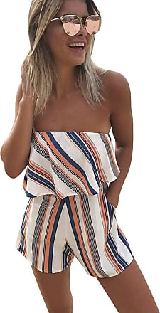 Isshe Womens Summer Playsuits Bandeau Playsuit Ladies Strapless Jumpsuits Short for Women Floral Going Out Jumpsuit Shorts Chiffon Party Holiday Beach Plays