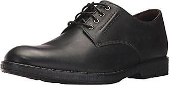 Clarks Mens Hinman Plain Oxford, Black Leather, 12 M US
