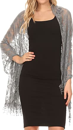 Sakkas 1929 - Mari Womens Large Lightweight Soft Lace Scarf Wrap Shawl Floral and Fringe - GrayRoseLace - OS