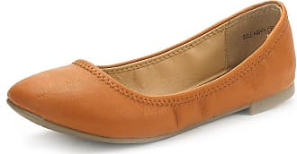 Dream Pairs Womens Slip On Round Toe Ballerina Ballet Flats Pumps Shoes Sole Happy Tan Size 8.5 US/ 6.5 UK