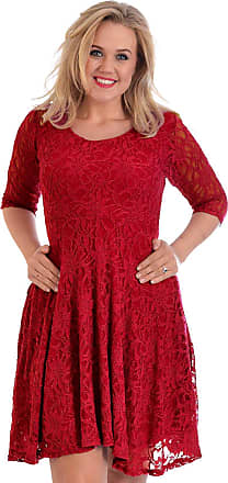 Nouvelle Collection Pretty Lace Lined Skater Dress Wine 22-24