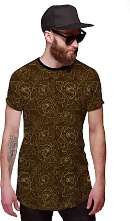 Di Nuevo Camisa Longline Marrom com Flores Douradas em Linhas