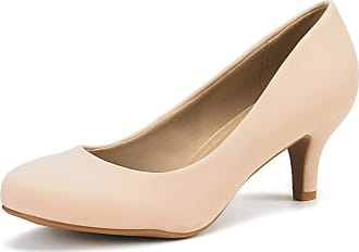 Dream Pairs Womens Slip On Low Kitten Heels Round Toe Pump Court Shoes Luvly Nude Nubuck Size 6.5 US/ 4.5 UK