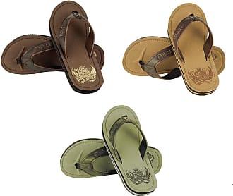Urban Beach Mens Badge Toe Post Beach Flip Flops Sandals Shoes (Sizes Adults 6-11) (UK 8 in Brown)