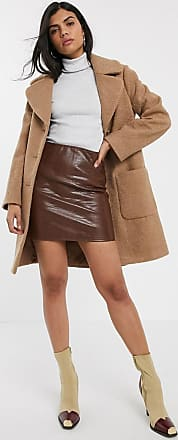 Warehouse faux leather mini skirt in brown croc