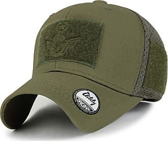 Ililily Military Patch Trucker Hat Air Hole Mesh Back Baseball Cap, Olive
