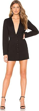 Krisa Deep V Blazer Dress in Black