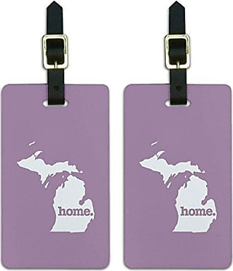 Graphics & More Graphics & More Michigan Mi Home State Luggage Suitcase Id Tags-Solid Light Rose, White