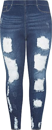 Yours Clothing Clothing Womens Plus Size Extreme Distressed Jeggings Size 28 Blue