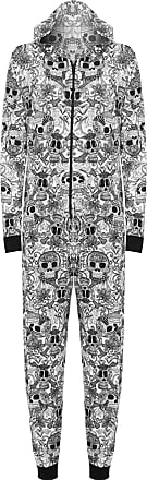 WearAll Womens Animal Aztec Zebra Print Onesie Ladies Playsuit Long Hooded Jumpsuit - Small Skull - 12/14