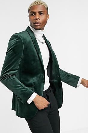 Topman skinny velvet blazer in green