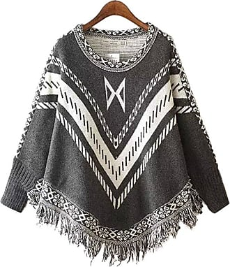 YOUJIA Women Vintage Patterned Knitted Pullover Poncho Capes with Tassels Sweater Top (Gray)