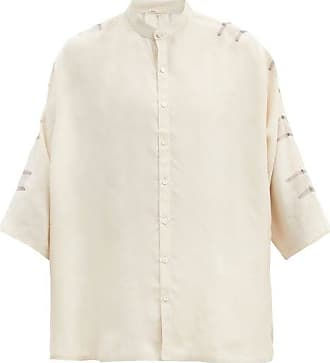 11.11 / eleven eleven 11.11 / Eleven Eleven - Wide-sleeve Striped Silk Shirt - Mens - Beige Multi