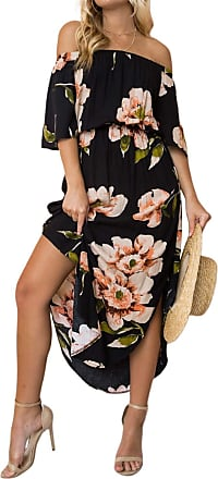 Yoins Women Floral Print V Neck Dress Half Sleeves Crossed Front Maxi Dresses for Vacation Beach,Off Shoulder-black,UK 10-12 (Medium)