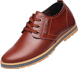 LanFengeu Men Dress Shoes Comfortable Round Toe Lace up Flats Male Business Office Height Increasing Casual Leather Shoe Brown