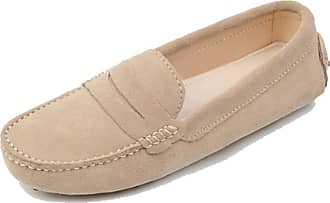 MGM-Joymod Ladies Womens Fashion Comfy Casual Slip-on Beige Suede Leather Walking Driving Loafers Flats Moccasins Hiking Shoes 6.5 M UK