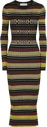 Opening Ceremony Opening Ceremony Woman Striped Ribbed-knit Midi Dress Black Size XS