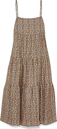 Matteau Floral-print Tiered Cotton-poplin Maxi Dress - Beige
