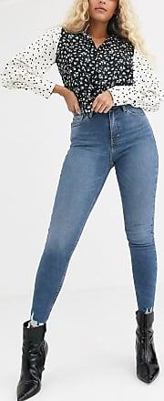Topshop Jamie - Enge Jeans mit ungesäumten Kanten in mittlerer Waschung-Blau