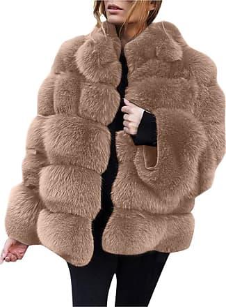 JERFER Womens Ladies Warm Faux Fur Coat Jacket Solid Winter Gradient Parka Outerwear Autumn Cardigan Fall Winner Coat for Womens
