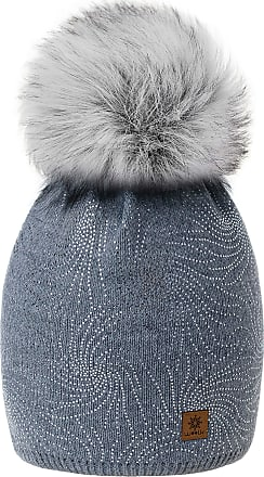morefaz Women Ladies Winter Beanie Hat Knitted Chunky Lola Fashion Ski Cap Pom Pom Fleece Lining MFAZ Morefaz Ltd (Grey)