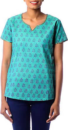 Novica Cotton tunic, Mumbai Bouquet - Cotton Tunic Shirt Blue Green Block Print Floral By India