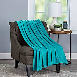 Trademark Bedford Home Oversized Microfiber Velvet Solid Polyester Throw Blanket - Breathable and Machine Washable (Lagoon Green)