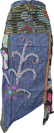 Gheri Hippie Cotton Stonewashed Embroidery Skirts Blue