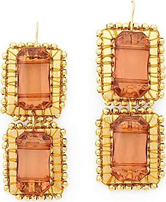Tinna Jewelry Brinco Dourado Retângulos Caseados Com Bolinhas E Pastilha de Resina (Marrom Claro)