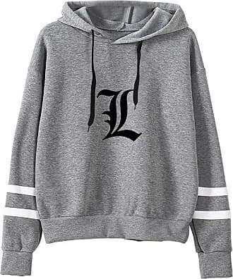 Haililais Death Note Pullover Pullover Sweatshirt Fashion Sweater Outerwear Adult Casual Sports Warm Wild Long Sleeve Men and Women Unisex (Color : Gray01, Size
