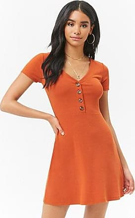 Forever 21 Forever 21 Ribbed Button-Front Skater Dress Rust