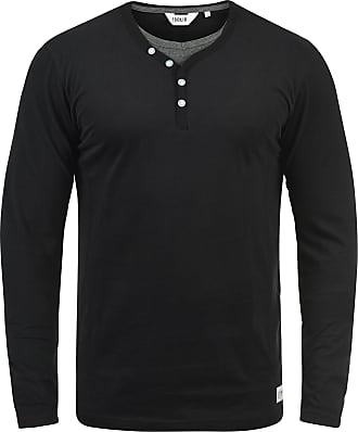 Solid Doriano Mens Long Sleeve T-Shirt Top with Grandad Collar, Size:L, Colour:Black (9000)