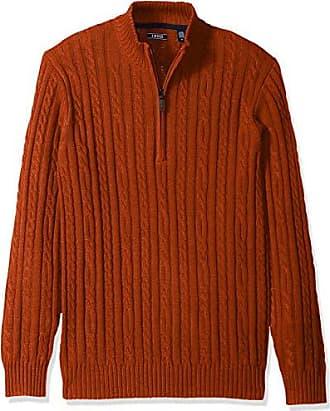 Izod Mens Premium Essentials Solid Quarter Zip 7 Gauge Cable Knit Sweater, Ketchup, Small