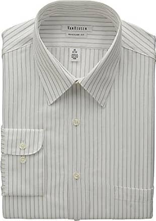 Van Heusen Mens Wrinkle Free Regular Fit Stripe, Burnt Sienna, 16.5 32/33