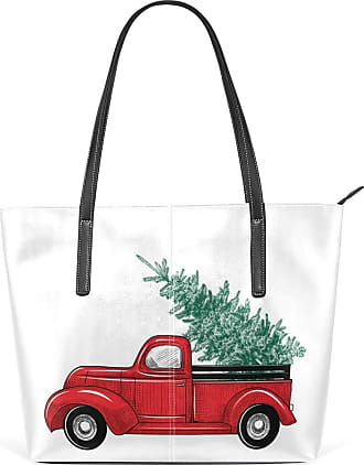 NaiiaN Shoulder Bags Handbags Tote Bag Leather 3D Red Truck Christmas Tree Merry Light Weight Strap for Women Girls Ladies Student Purse Shopping Graduation