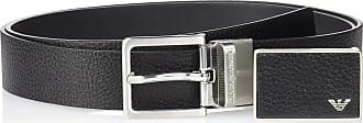 Emporio Armani Mens Designer Belt Gift Box, Black/Dark Tan, One size