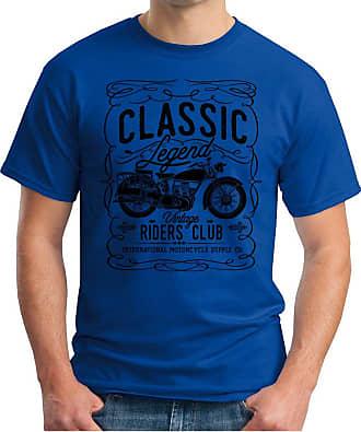 OM3 Classic-Legend-Black - T-Shirt Vintage Riders Club International Motorcycle Supply CO Garage Cult, XL, Royal Blue