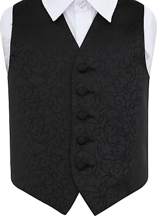 DQT Swirl Patterned Black /& Purple Boys Wedding Waistcoat /& Cravat Set